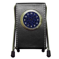 Skin5 Black Marble & Blue Leather Pen Holder Desk Clock by trendistuff