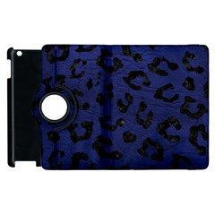 Skin5 Black Marble & Blue Leather Apple Ipad 2 Flip 360 Case by trendistuff