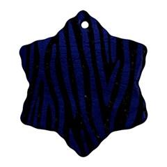 Skin4 Black Marble & Blue Leather (r) Ornament (snowflake) by trendistuff