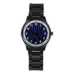 Skin4 Black Marble & Blue Leather (r) Stainless Steel Round Watch by trendistuff