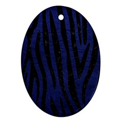 Skin4 Black Marble & Blue Leather Ornament (oval) by trendistuff