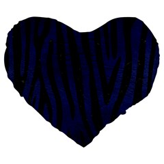 Skin4 Black Marble & Blue Leather Large 19  Premium Flano Heart Shape Cushion by trendistuff