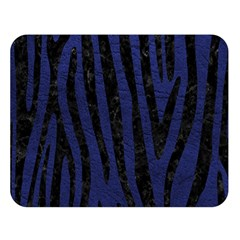 Skin4 Black Marble & Blue Leather Double Sided Flano Blanket (large) by trendistuff