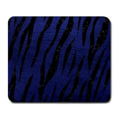 Skin3 Black Marble & Blue Leather (r) Large Mousepad by trendistuff