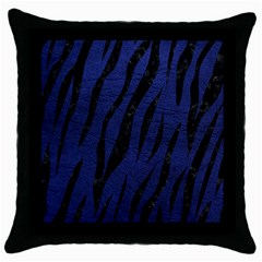 Skin3 Black Marble & Blue Leather (r) Throw Pillow Case (black) by trendistuff