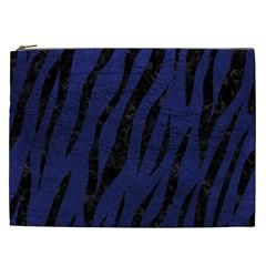 Skin3 Black Marble & Blue Leather (r) Cosmetic Bag (xxl) by trendistuff