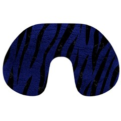 Skin3 Black Marble & Blue Leather (r) Travel Neck Pillow by trendistuff