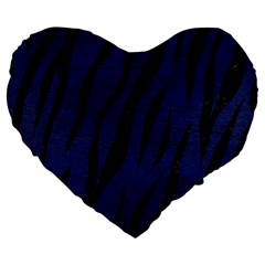 Skin3 Black Marble & Blue Leather (r) Large 19  Premium Flano Heart Shape Cushion by trendistuff