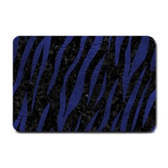 Skin3 Black Marble & Blue Leather Small Doormat by trendistuff