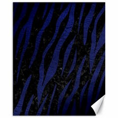 Skin3 Black Marble & Blue Leather Canvas 11  X 14  by trendistuff