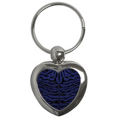Skin2 Black Marble & Blue Leather (r) Key Chain (heart) by trendistuff
