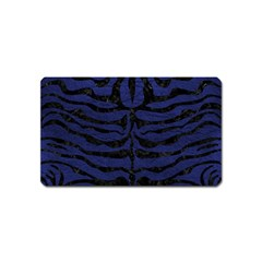 Skin2 Black Marble & Blue Leather (r) Magnet (name Card) by trendistuff