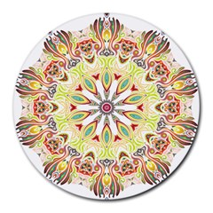 Intricate Flower Star Round Mousepads by Alisyart