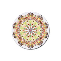 Intricate Flower Star Rubber Coaster (round)  by Alisyart