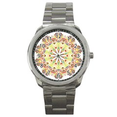 Intricate Flower Star Sport Metal Watch