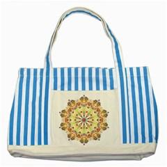 Intricate Flower Star Striped Blue Tote Bag