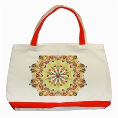 Intricate Flower Star Classic Tote Bag (red)