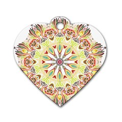 Intricate Flower Star Dog Tag Heart (one Side) by Alisyart