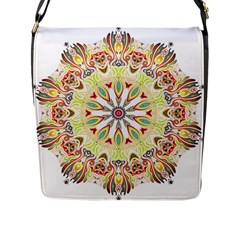 Intricate Flower Star Flap Messenger Bag (l)  by Alisyart