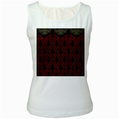 Elegant Black And Red Damask Antique Vintage Victorian Lace Style Women s White Tank Top by yoursparklingshop