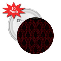 Elegant Black And Red Damask Antique Vintage Victorian Lace Style 2 25  Buttons (10 Pack)
