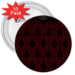 Elegant Black And Red Damask Antique Vintage Victorian Lace Style 3  Buttons (10 Pack)  by yoursparklingshop