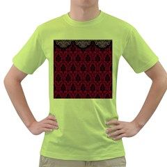 Elegant Black And Red Damask Antique Vintage Victorian Lace Style Green T Shirt