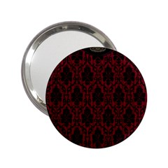 Elegant Black And Red Damask Antique Vintage Victorian Lace Style 2 25  Handbag Mirrors
