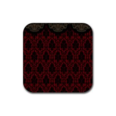 Elegant Black And Red Damask Antique Vintage Victorian Lace Style Rubber Coaster (square)