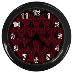 Elegant Black And Red Damask Antique Vintage Victorian Lace Style Wall Clocks (black) by yoursparklingshop