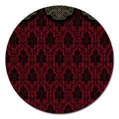 Elegant Black And Red Damask Antique Vintage Victorian Lace Style Magnet 5  (round)
