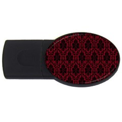 Elegant Black And Red Damask Antique Vintage Victorian Lace Style Usb Flash Drive Oval (4 Gb) by yoursparklingshop