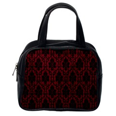 Elegant Black And Red Damask Antique Vintage Victorian Lace Style Classic Handbags (one Side) by yoursparklingshop