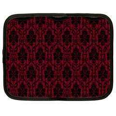 Elegant Black And Red Damask Antique Vintage Victorian Lace Style Netbook Case (xl)  by yoursparklingshop