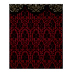 Elegant Black And Red Damask Antique Vintage Victorian Lace Style Shower Curtain 60  X 72  (medium)