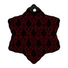 Elegant Black And Red Damask Antique Vintage Victorian Lace Style Snowflake Ornament (two Sides)