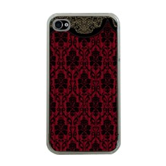 Elegant Black And Red Damask Antique Vintage Victorian Lace Style Apple Iphone 4 Case (clear)