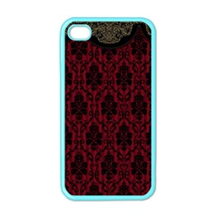 Elegant Black And Red Damask Antique Vintage Victorian Lace Style Apple Iphone 4 Case (color)