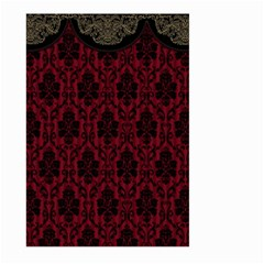 Elegant Black And Red Damask Antique Vintage Victorian Lace Style Large Garden Flag (two Sides) by yoursparklingshop