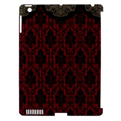 Elegant Black And Red Damask Antique Vintage Victorian Lace Style Apple Ipad 3/4 Hardshell Case (compatible With Smart Cover)