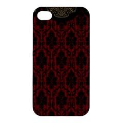 Elegant Black And Red Damask Antique Vintage Victorian Lace Style Apple Iphone 4/4s Premium Hardshell Case