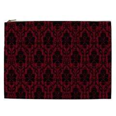 Elegant Black And Red Damask Antique Vintage Victorian Lace Style Cosmetic Bag (xxl)