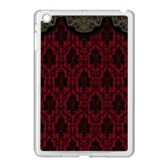 Elegant Black And Red Damask Antique Vintage Victorian Lace Style Apple Ipad Mini Case (white) by yoursparklingshop