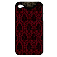 Elegant Black And Red Damask Antique Vintage Victorian Lace Style Apple Iphone 4/4s Hardshell Case (pc+silicone)
