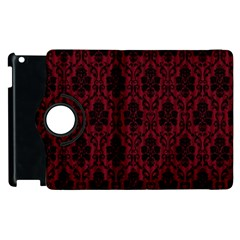 Elegant Black And Red Damask Antique Vintage Victorian Lace Style Apple Ipad 2 Flip 360 Case by yoursparklingshop