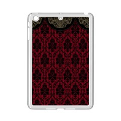 Elegant Black And Red Damask Antique Vintage Victorian Lace Style Ipad Mini 2 Enamel Coated Cases