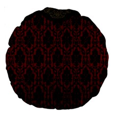 Elegant Black And Red Damask Antique Vintage Victorian Lace Style Large 18  Premium Round Cushions