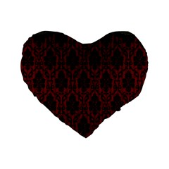 Elegant Black And Red Damask Antique Vintage Victorian Lace Style Standard 16  Premium Heart Shape Cushions