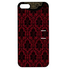 Elegant Black And Red Damask Antique Vintage Victorian Lace Style Apple Iphone 5 Hardshell Case With Stand