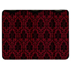 Elegant Black And Red Damask Antique Vintage Victorian Lace Style Samsung Galaxy Tab 7  P1000 Flip Case